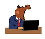 Hippo in office 3 Stock Photography