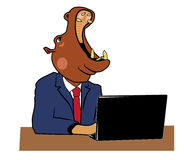Hippo in office 4. Hippo head of the office at a table with a laptop Stock Photo