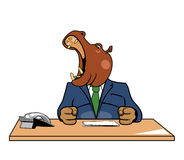 Hippo in office. Head of hippo at a table with a phone in the office Royalty Free Stock Images