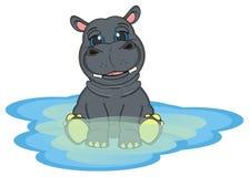 Hippo op het water Stock Fotografie