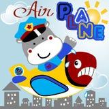 Hippo the pilot. Plane with heavy pilot, vector cartoon. EPS 10 stock illustration