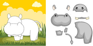 Hippo puzzle. A vector illustration of a hippo puzzle Royalty Free Stock Images