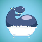 Hippo relaxing in Tub. Cartoon illustration on a blue background stock illustration