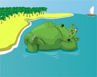 Hippo resting in the water on the beach stock illustration