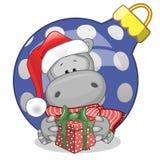 Hippo in a Santa hat Stock Image
