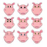 Hippo set of heads with different emotions isolated on white background in vector Royalty Free Stock Photography