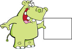 Hippo with a sign Royalty Free Stock Image