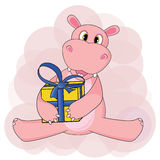 Hippo sitting and holding gift on white background in vector Stock Photo