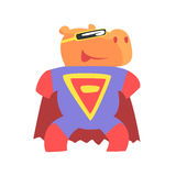 Hippo Smiling Animal Dressed As Superhero With A Cape Comic Masked Vigilante Geometric Character. Part Of Fauna With Super Powers Flat Cartoon Vector Royalty Free Stock Image
