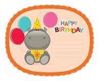 Hippo Sticker. Cute,funny and festive happy birthday sticker stock illustration