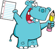 Hippo student. Cartoon illustration of a hippo holding a paper and a pencil Royalty Free Stock Image