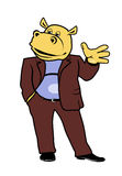 Hippo in a suit 14. Hippo in a suit without a tie Stock Photo