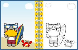 Hippo the surfers, vector cartoon illustration, coloring page or book vector illustration