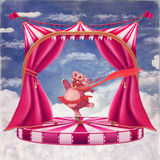 Hippo in a tutu dancing. Illustration of a circus with a cartoon hippo in a tutu dancing Stock Photo