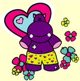 Hippo vector love illustration. Composition Royalty Free Stock Image