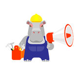 Hippo worker megaphone Stock Photo