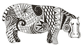 Hippo zentangle stylized, vector, illustration, freehand pencil Stock Photo