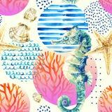 Hippocampe d'aquarelle, récif coralien en cercle coloré de gradient avec des éléments de griffonnage sur le fond en pastel illustration libre de droits