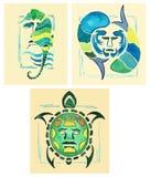 Hippocampe de totem Tortue de totem Totem marin Aquarelle dessinée par totems marins Image libre de droits