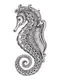 Hippocampe fleuri graphique tiré par la main illustration stock