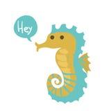 Hippocampe mignon d'océan de bande dessinée de vecteur illustration libre de droits