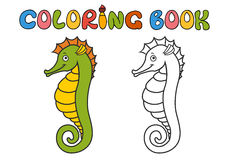 Hippocampus cartoon. Coloring book. hippocampus cartoon, part of the collection of marine life Royalty Free Stock Photos