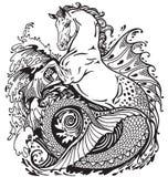Hippocampus. Or kelpie mythological sea-horse . Black and white illustration Stock Photo