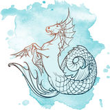 Hippocampus or kelpie supernatural beast. Sketch on a grunge background. Hippocampus greek mythological creature. Kelpie scottish fairy tale water horse. Vintage Royalty Free Stock Photography