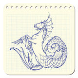 Hippocampus or kelpie supernatural water beast. Notepad sketch. Hippocampus greek mythological creature. Kelpie scottish fairy tale water horse. Notepad hand Royalty Free Stock Image