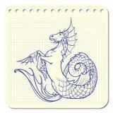 Hippocampus or kelpie supernatural water beast. Notepad sketch. Royalty Free Stock Image