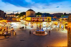 Hippocrates fountain, Rhodes old town. RHODES, GREECE - MAY 11, 2018: Hippocrates fountain at the Rhodes old town main square in Rhodes island in Greece stock photography
