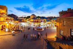 Hippocrates fountain, Rhodes old town. RHODES, GREECE - MAY 11, 2018: Hippocrates fountain at the Rhodes old town main square in Rhodes island in Greece royalty free stock photo