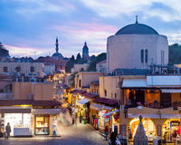 Hippocrates square. In the historic Old Town of Rhodes Greece stock photo