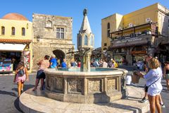 Hippocrates square in center of Rhodes old town, Greece stock photos