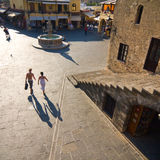 Hippocrates square in the historic Old Town of Rhodes Greece Stock Photo
