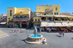 Hippocrates square. Rhodes, Greece Stock Photos