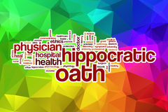 Hippocratic oath word cloud with abstract background Royalty Free Stock Photo