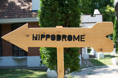 Hippodrome direction sign. Photo was taken on Zobnatica, Serbia. Famous horse stable and farm royalty free stock photography