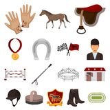 Hippodrome and horse cartoon icons in set collection for design. Horse Racing and Equipment vector symbol stock web. Hippodrome and horse cartoon icons in set Royalty Free Stock Photos
