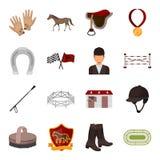 Hippodrome and horse set icons in cartoon style. Big collection of hippodrome and horse vector symbol stock illustration Stock Photos