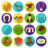 Hippodrome and horse set icons in flat style. Big collection of hippodrome and horse vector symbol stock illustration Royalty Free Stock Image