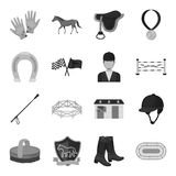 Hippodrome and horse set icons in monochrome style. Big collection of hippodrome and horse vector symbol stock Stock Photos