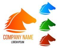 Hippodrome Logo Different Colors de tête de cheval Images stock