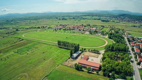 Hippodrome Sinj with surronding, aerial shot stock video