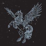 Hippogriff lub Hippogryph bestii nadnaturalny nakreślenie na nightsky tle Obrazy Royalty Free