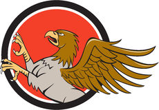 Hippogriff Prancing Side Circle Cartoon Stock Photography
