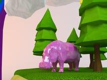 hippopotame 3d à l'intérieur d'une bas-poly scène verte Images libres de droits
