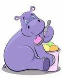 Hippopotame drôle mangeant la crème glacée  Photos stock