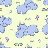 Hippopotame et bird-01 Photo libre de droits