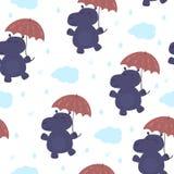Hippopotame mignon avec un parapluie dans le style de bande dessinée Configuration Photo libre de droits